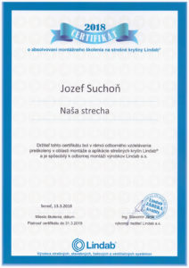 Certifikat Lindab Suchoň