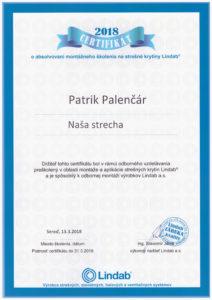 Certifikát Lindab Palenčár